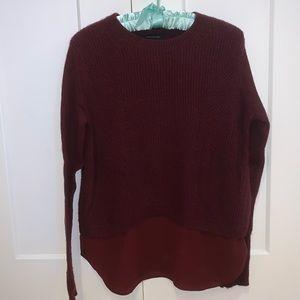 Burgundy Sweater With Fabric Hem